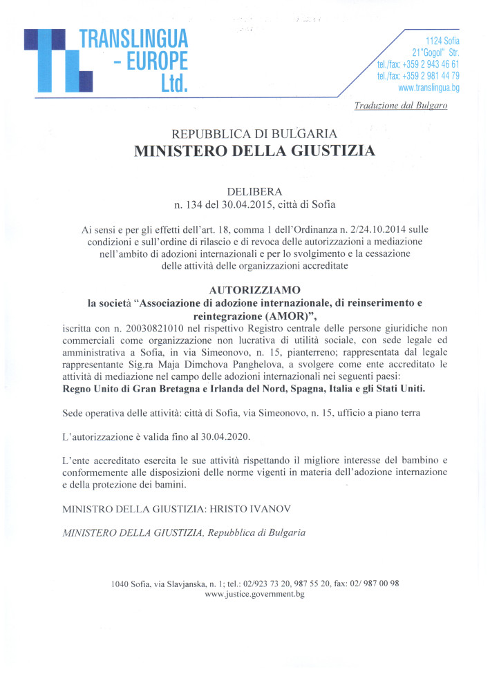 AMOR acreditazzione Haya -2020-ITA